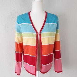 TALBOTS Rainbow Colors L/S Cardigan Sweater M